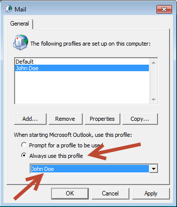 Set New Outlook Profile as Default